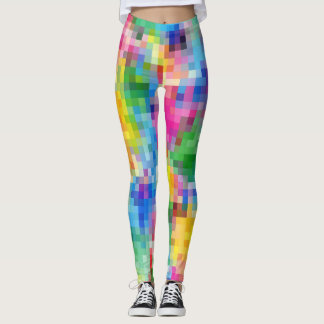 Abstract Rainbow Mosaic Pattern Leggings
