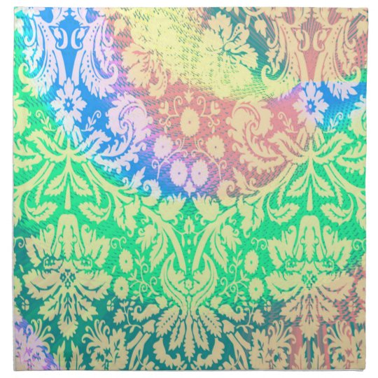 abstract rainbow paisley pink green set of napkins
