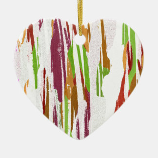 Abstract Rainbow Splash Design Ceramic Heart Ornament