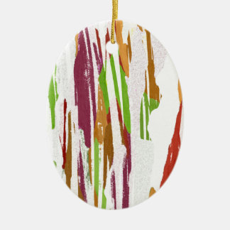 Abstract Rainbow Splash Design Ceramic Oval Ornament