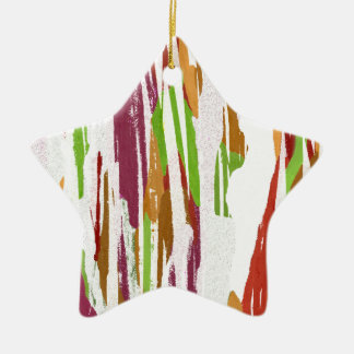 Abstract Rainbow Splash Design Ceramic Star Ornament