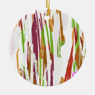 Abstract Rainbow Splash Design Round Ceramic Ornament