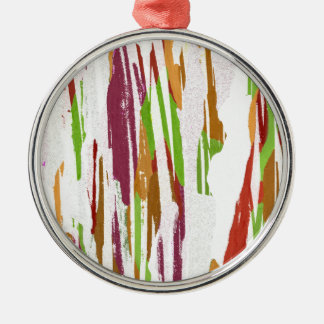 Abstract Rainbow Splash Design Silver-Colored Round Ornament