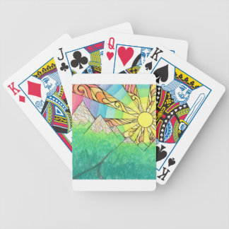 Abstract Rainbow Sun Setting Watercolor & Marker Bicycle Playing Cards