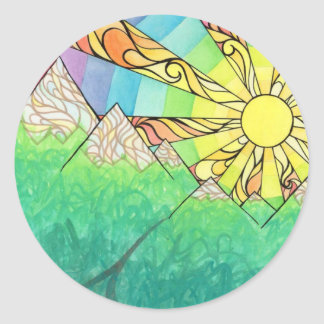 Abstract Rainbow Sun Setting Watercolor & Marker Classic Round Sticker