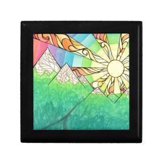 Abstract Rainbow Sun Setting Watercolor & Marker Gift Box