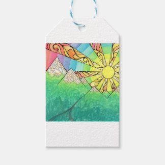 Abstract Rainbow Sun Setting Watercolor & Marker Pack Of Gift Tags