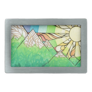 Abstract Rainbow Sun Setting Watercolor & Marker Rectangular Belt Buckles