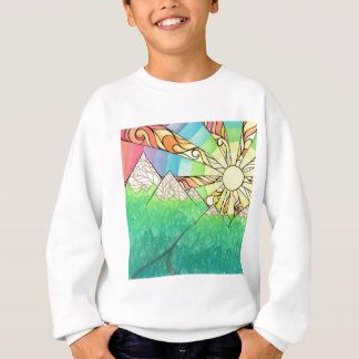 Abstract Rainbow Sun Setting Watercolor & Marker Sweatshirt