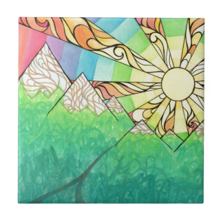 Abstract Rainbow Sun Setting Watercolor & Marker Tile