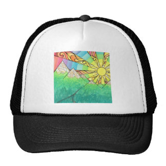 Abstract Rainbow Sun Setting Watercolor & Marker Trucker Hat