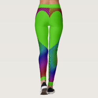 Abstract Rainbow Swirl Bright Green Heart Leggings