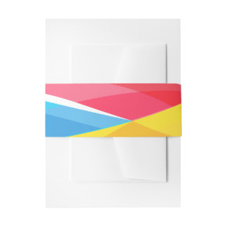 Abstract Rainbow Wave Blue Red Yellow Gold Wedding Invitation Belly Band