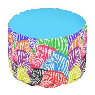 Abstract Rainbow Zebras Pouf