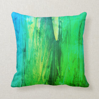 Abstract Rainy Green & Teal Pillow