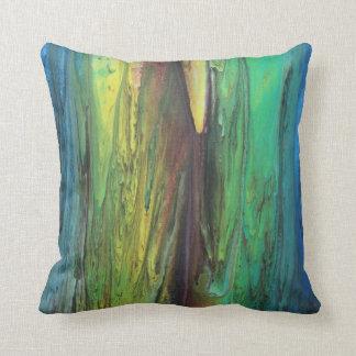Abstract Rainy Rainbow Pillow