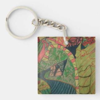 Abstract Rapture Double-Sided Square Acrylic Keychain