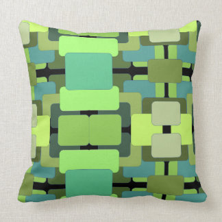 Abstract Rectangular - Shades of Green Throw Pillow