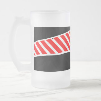 Abstract red and black 16 oz frosted glass beer mug