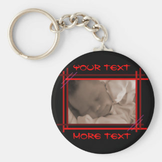 Abstract Red and Black Frame Keychain