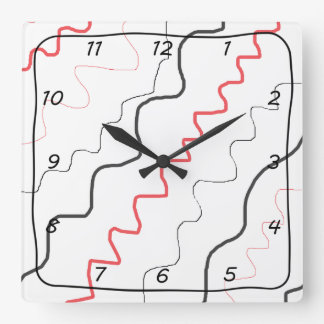 Abstract Red and Black Squiggly Lined Clock