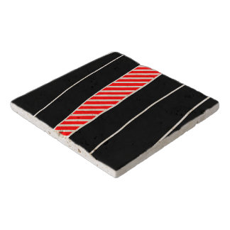 Abstract red and black trivet