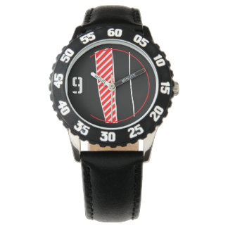 Abstract red and black wrist watch
