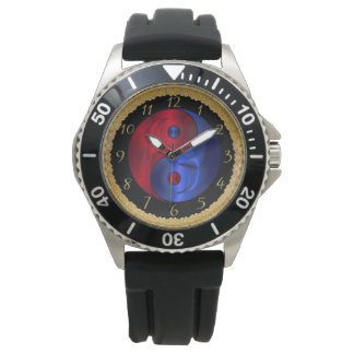 Abstract red and blue geometric Yin and Yang 4 Watch