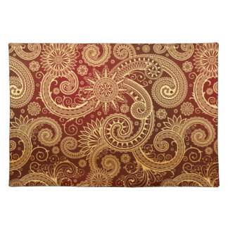 Abstract Red and Gold Floral Pattern Place Mats