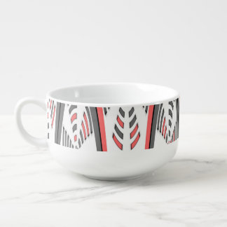 Abstract red and grey soup bowl with handle