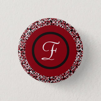 Abstract Red Black & White Floral Monogram Pattern 1 Inch Round Button