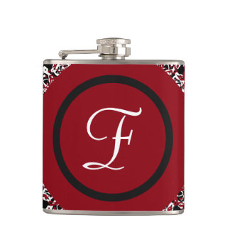 Abstract Red Black & White Floral Monogram Pattern Hip Flask