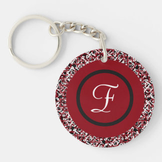 Abstract Red Black & White Floral Monogram Pattern Keychain