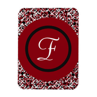 Abstract Red Black & White Floral Monogram Pattern Magnet