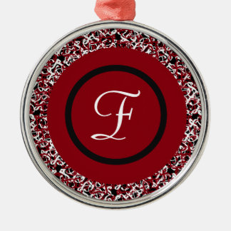 Abstract Red Black & White Floral Monogram Pattern Metal Ornament