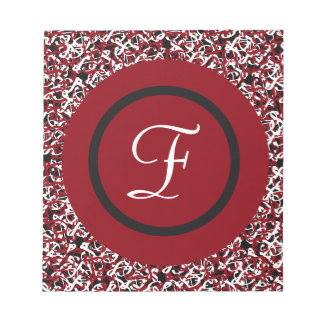 Abstract Red Black & White Floral Monogram Pattern Notepad