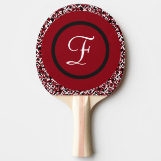 Abstract Red Black & White Floral Monogram Pattern Ping Pong Paddle