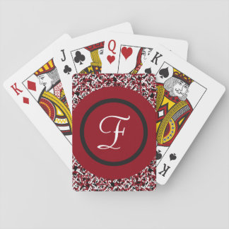 Abstract Red Black & White Floral Monogram Pattern Playing Cards
