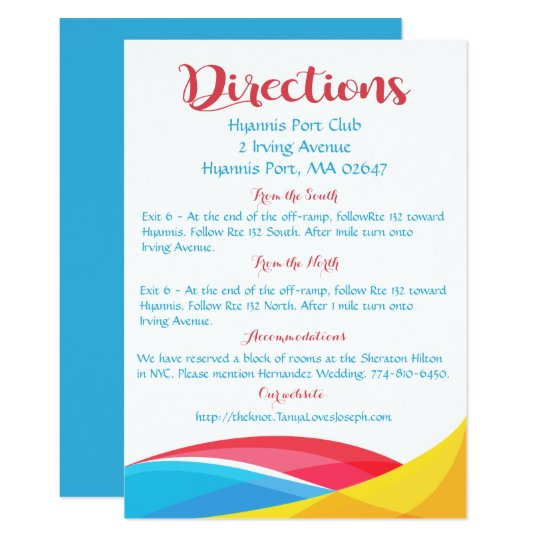 Abstract Red & Blue Wedding Details Rainbow Wave Card