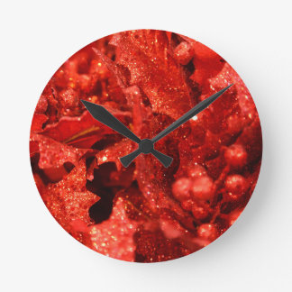 abstract red christmas berries round clock