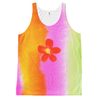 Abstract Red Flower All-Over Printed Unisex Tank