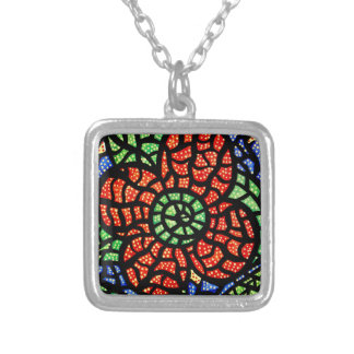 Abstract Red Flower Silver Plated Necklace