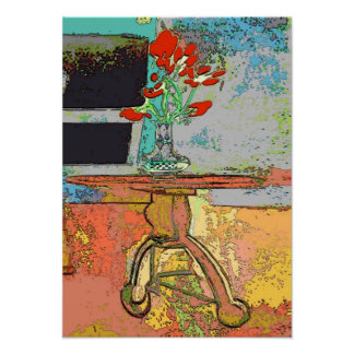 Abstract Red Flowers Still Life Poster