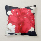 Abstract Red Geranium on Black Throw Pillow