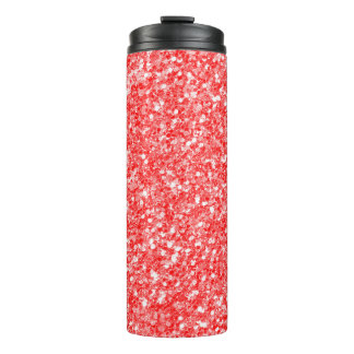 Abstract Red Glitter And White Sparks Thermal Tumbler