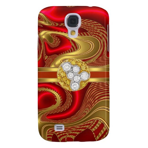 Abstract Red Gold Pern Diamond jewel Samsung Galaxy S4 Case
