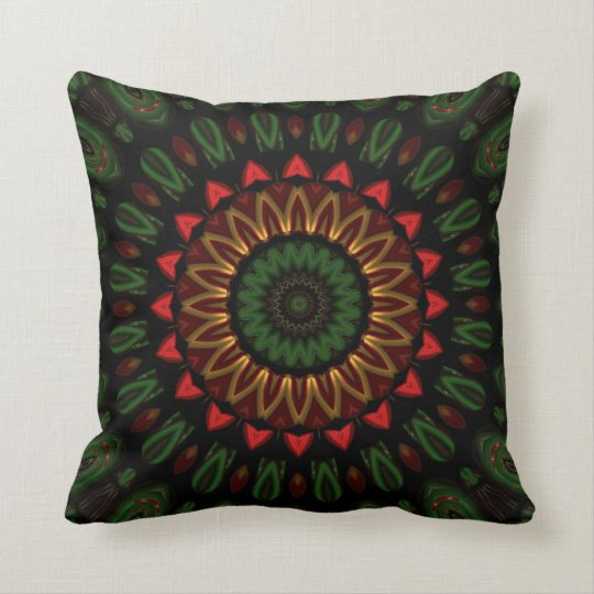 Abstract red green and gold pillow