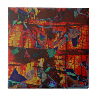 Abstract Red, Green Blue, Yellow Modern Photo Art Tile
