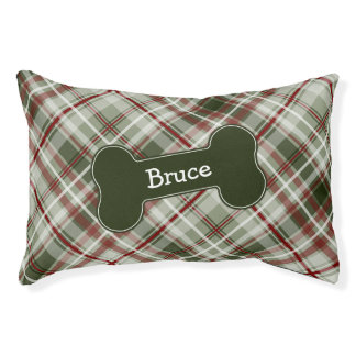abstract red green Christmas plaid with dog bone Pet Bed