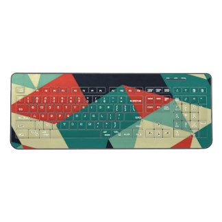 Abstract Red Green Cube Wireless Keyboard